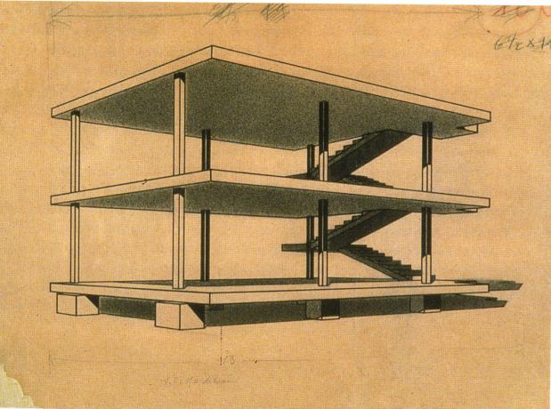 Disegno della maison Dom-Ino di Le Corbusier